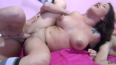 Sideways big tits fuck while riding dick Charity Bangs and Luxx Cream
