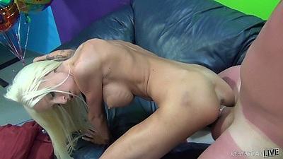 Doggy style and masturbating skinny athletic girl Rikki Six