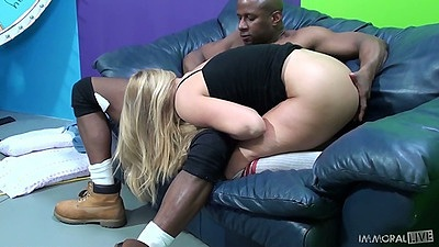 Blowjob and black cock going inside white slut pussy from behind with AJ Applegate