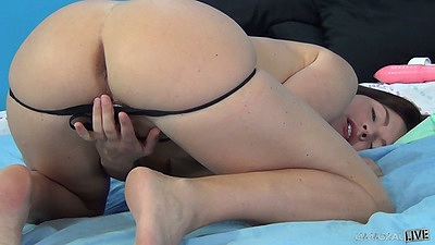Pulled down panties over nice ass girl Krissy Lynn with hairy pussy