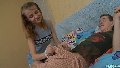 Blowjob and standing fuck teen Zanna prepares her anus for large toy