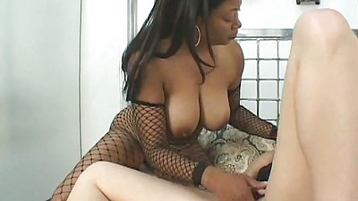 Big tits black girl and a white milf Chrissy Taylor go at it