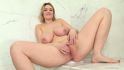 Shower room masturbation with hairy girl and her huge natural tits Siri