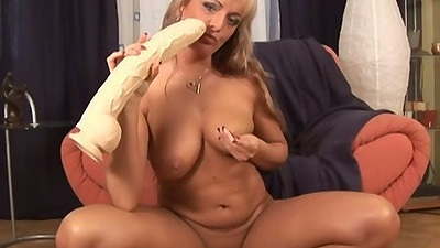 Giant dildo for mature whore and her cunt