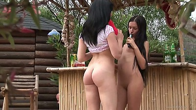 Sex toy sucking jolly lesbian skanks Sasha Rose and her bff