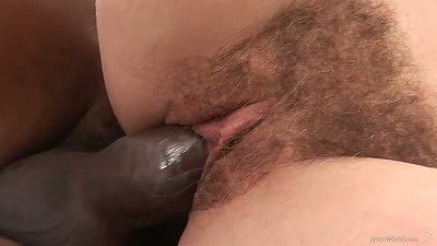 Close up large black dick fucking a hairy bush girl from the side
