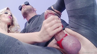 Handjob with fetish whores Paige Turnah and Rebecca More