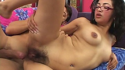 Hairy latina teen in glasses gets penis inside Andrea Kelly