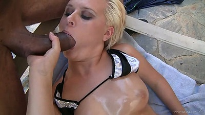 Big dick oiled up tits Kelly Surfer outdoors blowjob