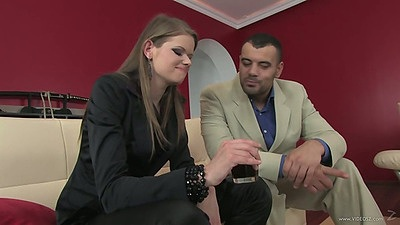 Fully clothed Jenny Noel has a chat with guy then sucks him right off