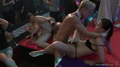 Male stripper fucks girl on stage right at the party