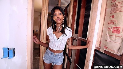 Ebony amateur Adriana Malao solo stripping and showing skinny body