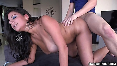 Colombian latina goddess Juliana doggystyle on her knees fuck