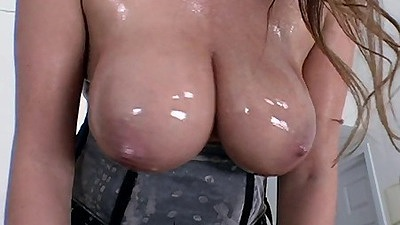 Big tits in oil with lovely all natural Emily George