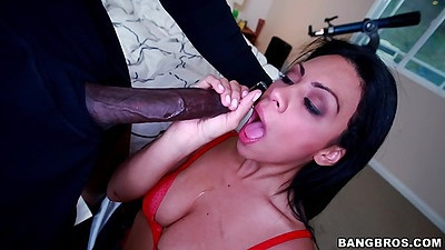 Big dick interracial blowjob with shaved cunt Cassandra Cruz