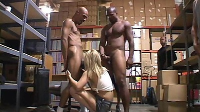 Interracial Arralyn Barra group gang bang for white whore