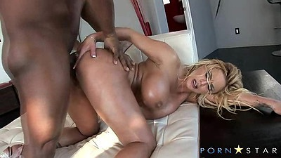 Interracial fucking with black cock and white milf from behind and oil on tits Shyla Styles