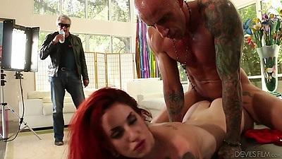 Sex from behind with redhead girl slurping on semen Sheena Rose