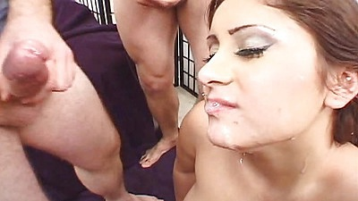 Facial and deep throat cum dripping facial sluts scene