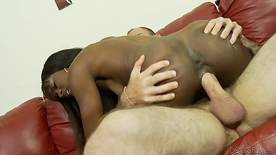 White cock cute black girl with small tits and hairy pussy fuck Ana Foxxx