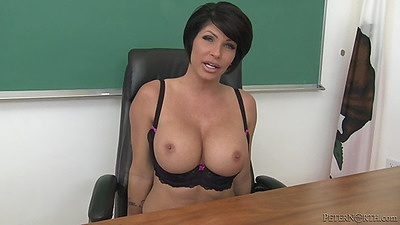 Big tits Shay Fox is a naughty teacher with deep throat skills