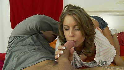 Cute petite brunette Presley Hart blowjob and sex from behind
