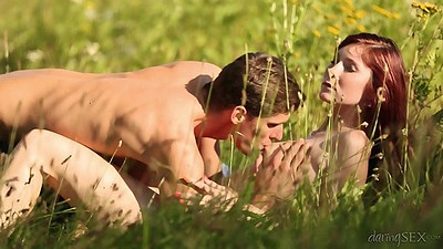 Nature beauty Kattie Gold pussy licked in grass