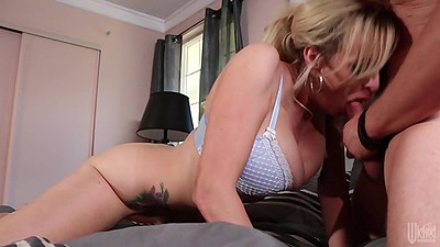 Big tits blowjob with milf Stormy Daniels in bras and panties
