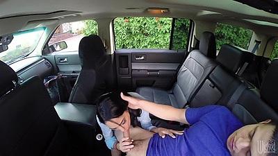 Van hidden camera captures as Jasmine Caro does great sucking