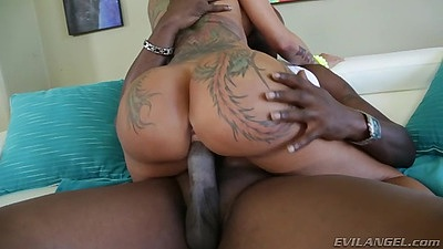 Cowgirl tattoo white girl riding black meat of lex with Bella Bellz