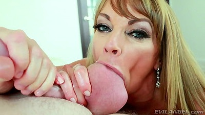 Enticing blonde milf Shayla LaVeaux sucks balls and a juicy deep throat