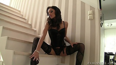Solo petite lingerie Sophie Lynx teasing on the stairs