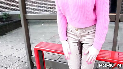Fully clothed girl pissed her pants in public and walking around the street