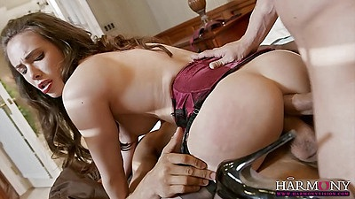 Casey Calvert double holes filled screams while her mouth is also throated