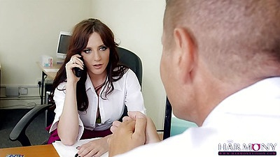 Brunette in office then makes out Samantha Bentley
