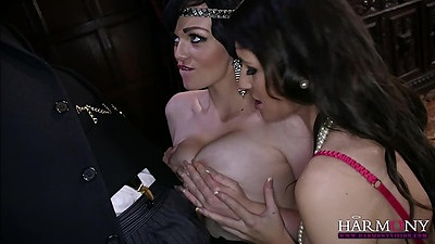 Titty fuck and cock sitting lingerie fuck from Jasmine James and Lexi Lowe after dinner