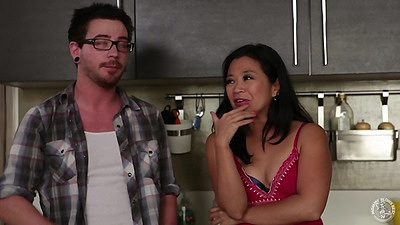 Asian Lucky Starr makes out and strips ifor man