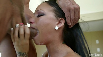 Sloppy deep throat with busty inked girl Raven Bay