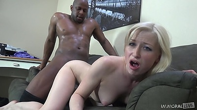Doggy style interracial sex with petite and fair skin blonde Kira Lake