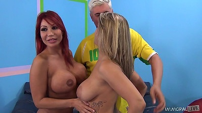 Ava Devine and Natasha Vega asian redhead and her friend