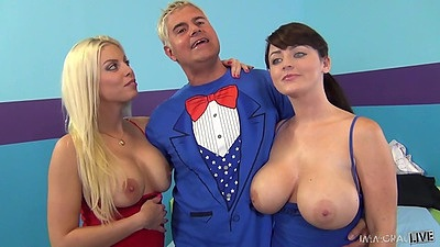 Big tits girls Sophie Dee and Britney Amber get ready for threesome