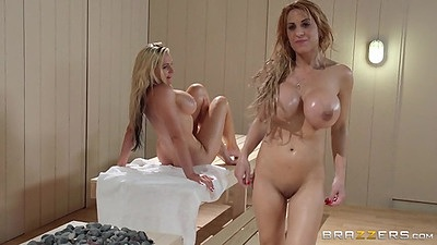 Alyssa Lynn and Stevie Shae with Alena Croft sweaty lesbians in sauna