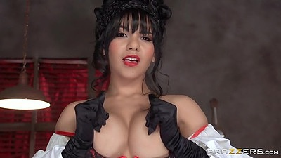 Nice looking Rose Monroe with hot waitress costume