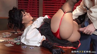Waitress gets fucked on table with cards Rose Monroe