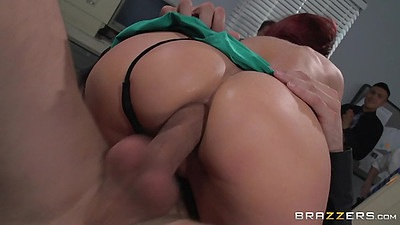Cowgirl anal sex while other co workers watch Monique Alexander