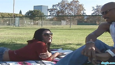 Outdoor in the public park with milf Charley Chase having picnic