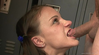 Biting cock college cheerleader in change room with feet fun Kira Lynn