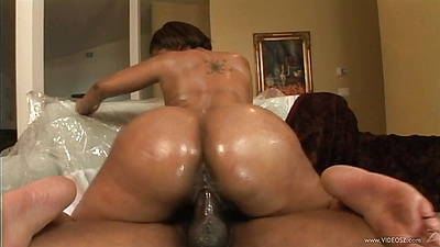 Mya G big booty oil fuck in interracial with Mya G