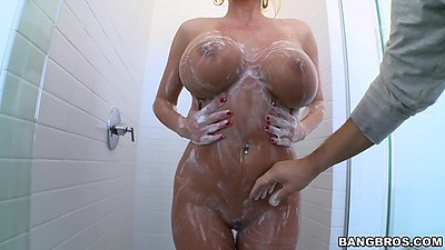 Having an arousing shower with soap from milf Summer Brielle