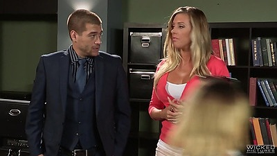Fully clothed Samantha Saint and Kleio Valentien goes to diner